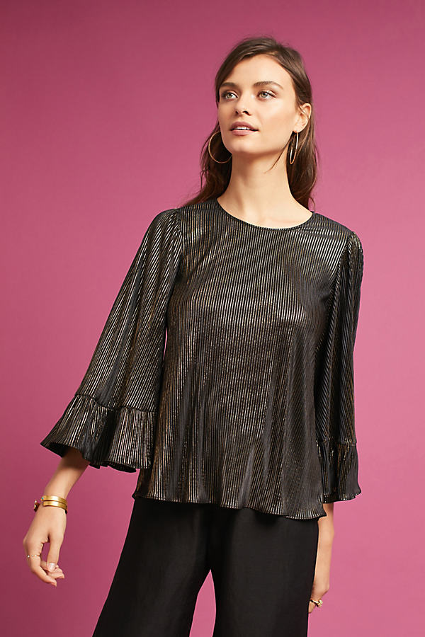 Drew Metallic Ruffle Sleeve Blouse - Gold, Size L