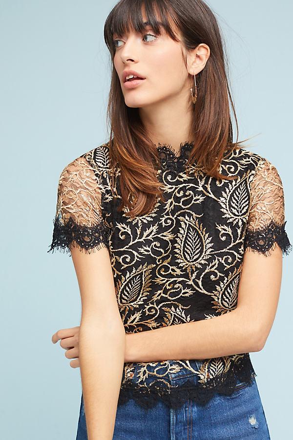 Joyce Metallic Lace Blouse - Black, Size Xl