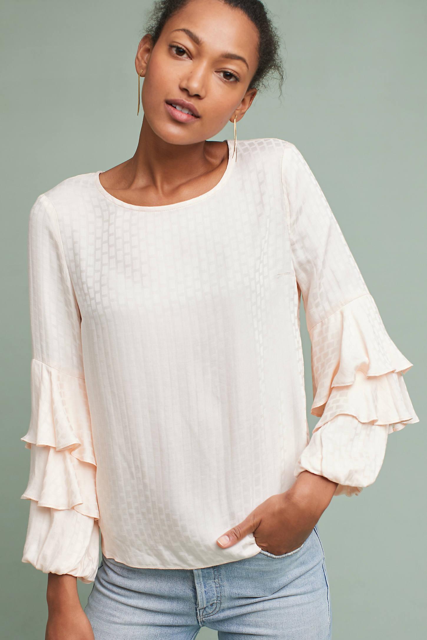 Gretchen Ruffle-Sleeve Blouse