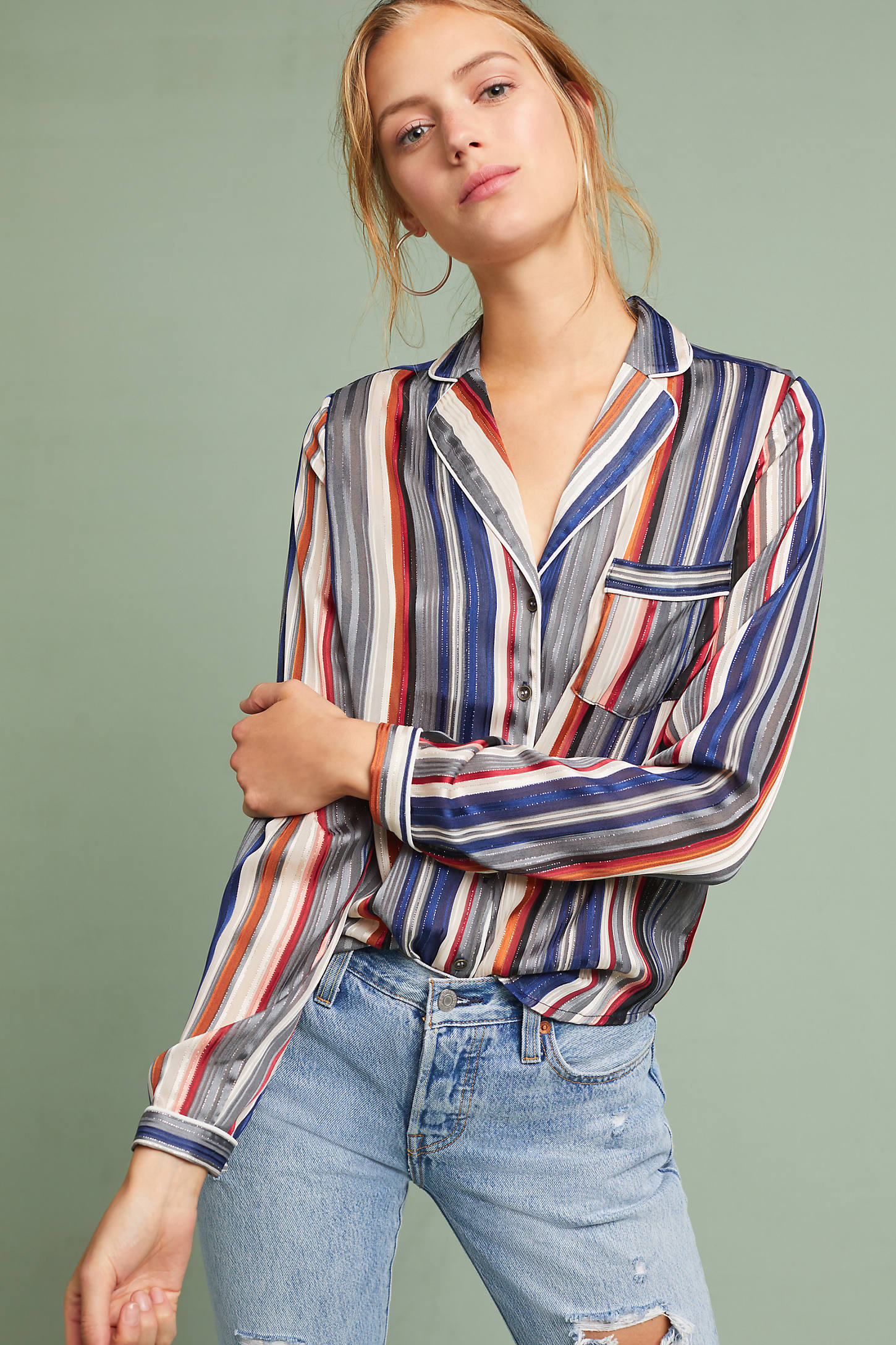 Pocketed & Striped Buttondown
