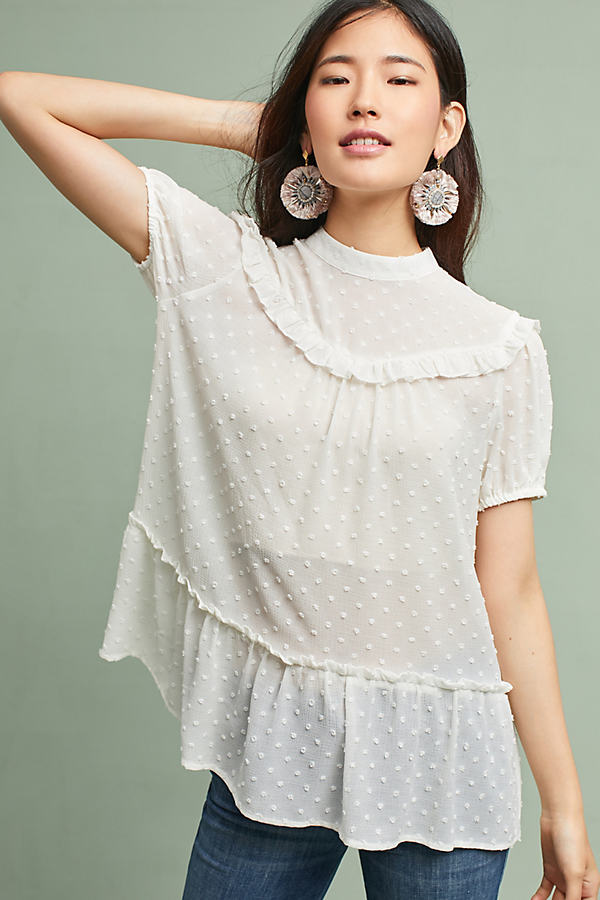 Elissa Textured Tunic - White, Size S