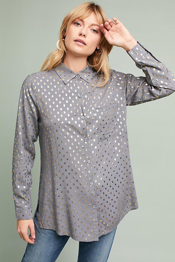 Rene Foil Spot Blouse - Grey, Size Xs