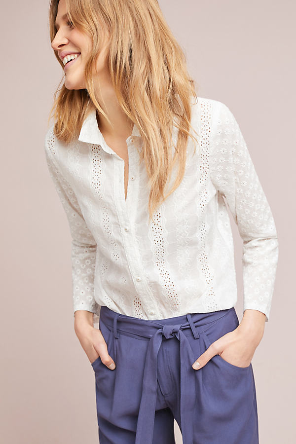 Alice Eyelet Buttondown Shirt - White, Size Xs