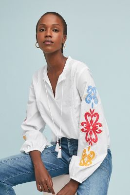 Salisbury Embroidered Peasant Top by Solitaire