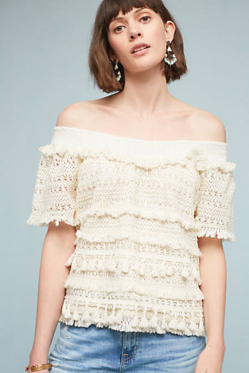 Tasseled Off-The-Shoulder Top