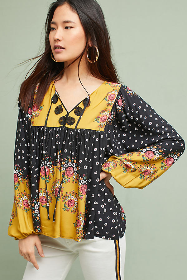 Farm Rio Intarsia Top - Yellow Motif, Size Xs