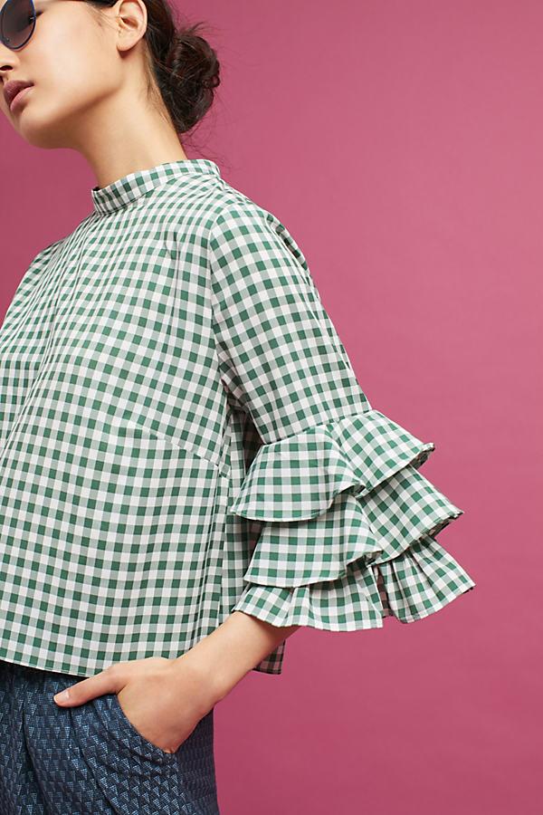 Hazel Gingham Top, Green - Green, Size M