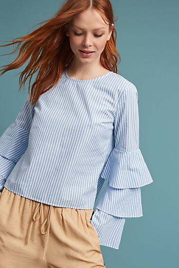 Ruffle Bell-Sleeved Blouse