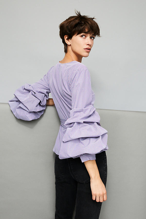Slide View: 5: Avelina Ruffled Gingham Blouse, Purple
