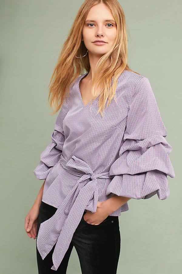 Slide View: 2: Avelina Ruffled Gingham Blouse, Purple