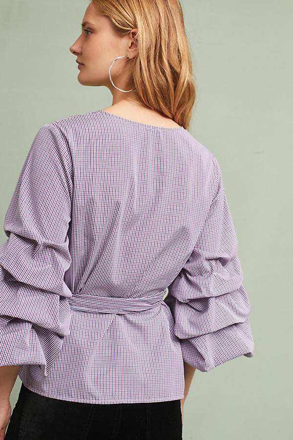 Slide View: 3: Avelina Ruffled Gingham Blouse, Purple