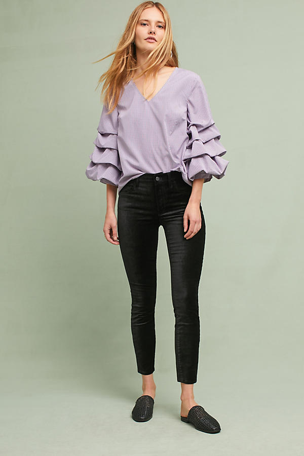 Slide View: 4: Avelina Ruffled Gingham Blouse, Purple