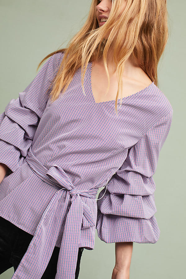 Slide View: 1: Avelina Ruffled Gingham Blouse, Purple