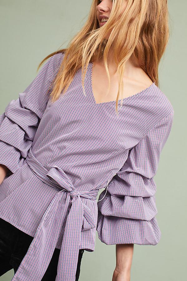Avelina Ruffled Gingham Blouse, Purple - Purple Motif, Size L