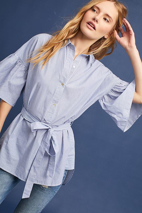 Striped Button Tunic Shirt - Blue Motif, Size Xl