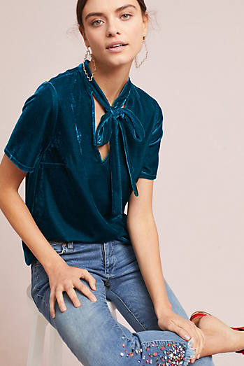 Velvet Tie-Neck Top