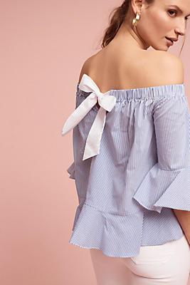 Slide View: 1: Pinstripe Off-The-Shoulder Blouse