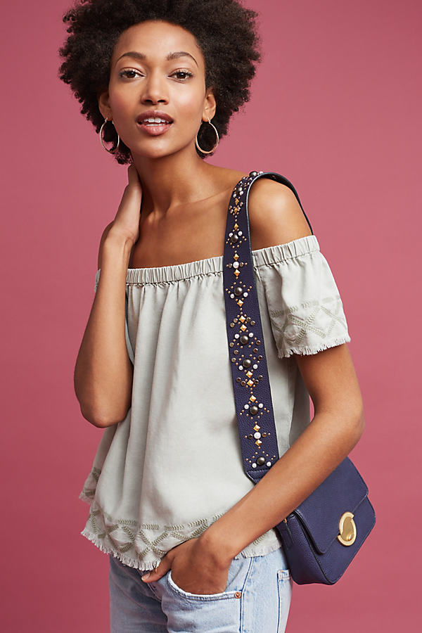 Caprera Embroidered Off-The-Shoulder Top - Moss, Size S