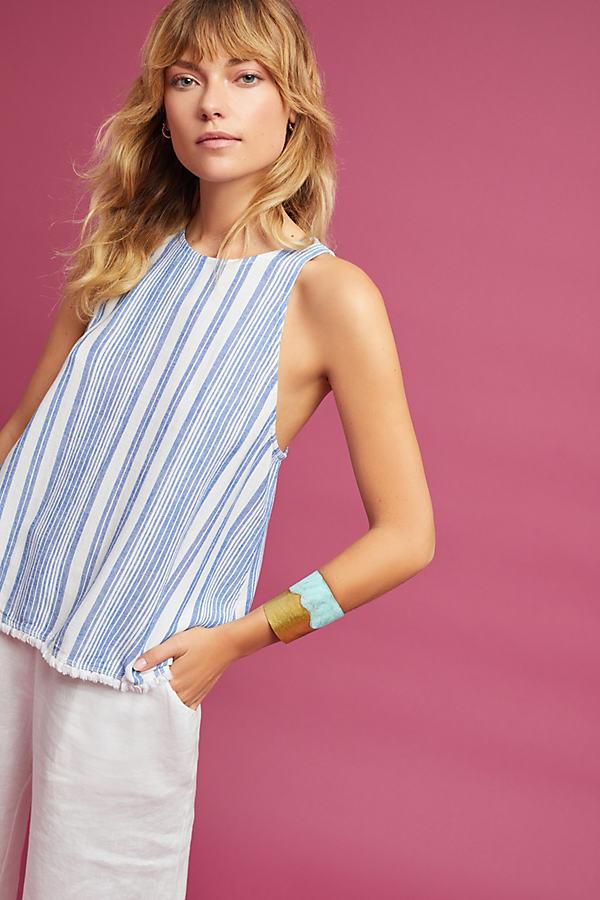 Sandra Striped Tank Top, Blue - Blue Motif, Size Xs