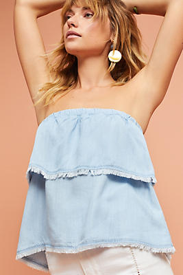 Slide View: 1: Tiered Strapless Top