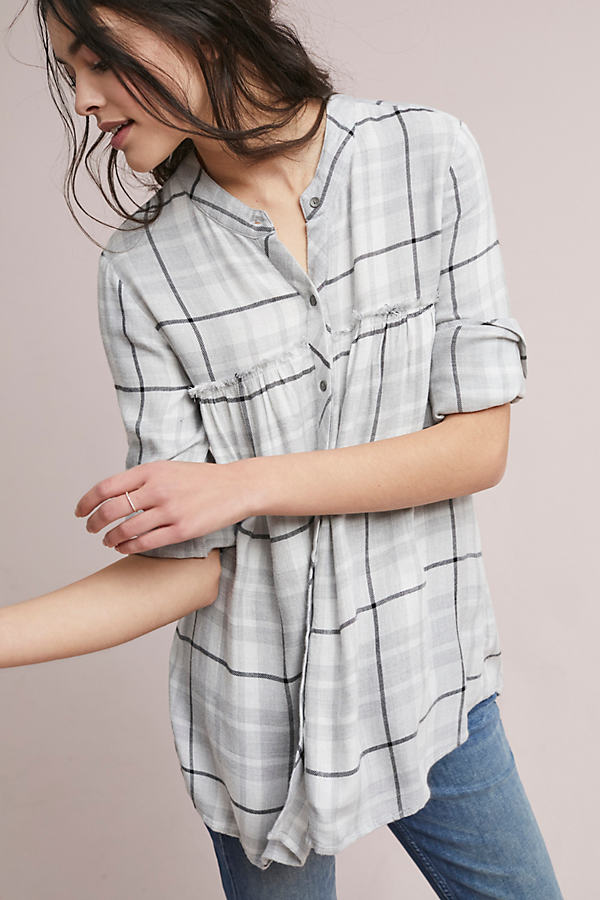 Lyla Plaid Swing Tunic - Grey Motif, Size M