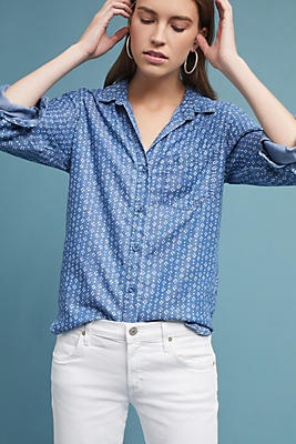 Slide View: 1: Cloth & Stone Amy Printed Buttondown