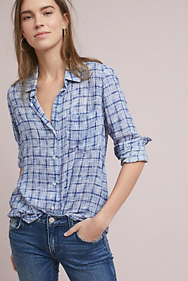 Slide View: 1: Cloth & Stone Brushstroke Plaid Buttondown