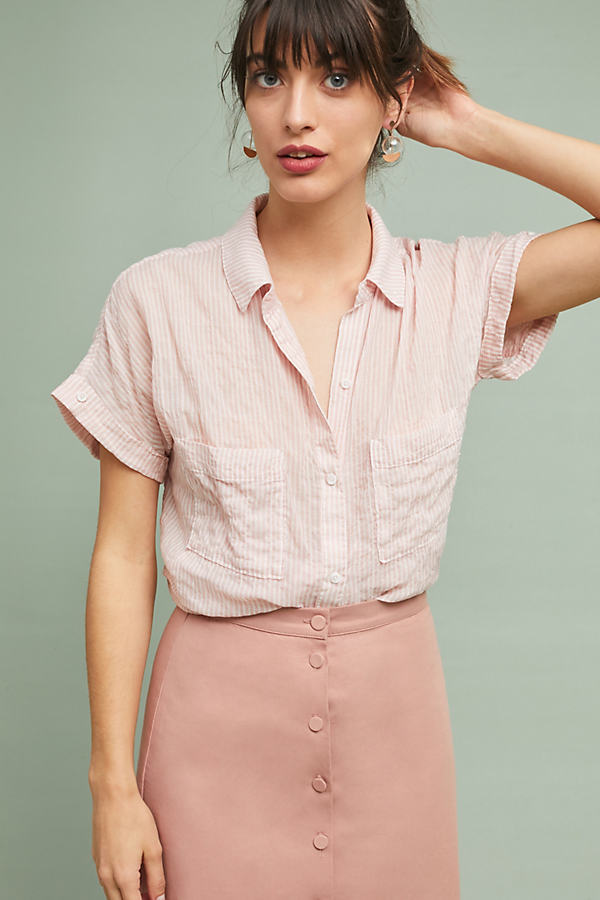 Cloth & Stone Zoe Striped Shirt - Assorted, Size Xl