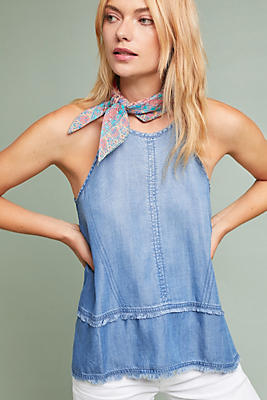 Slide View: 1: Cloth & Stone Tiered Chambray Halter Top