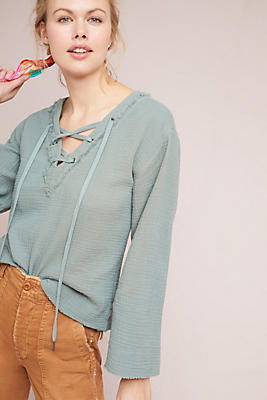Slide View: 1: Cloth & Stone Lace-Up Top