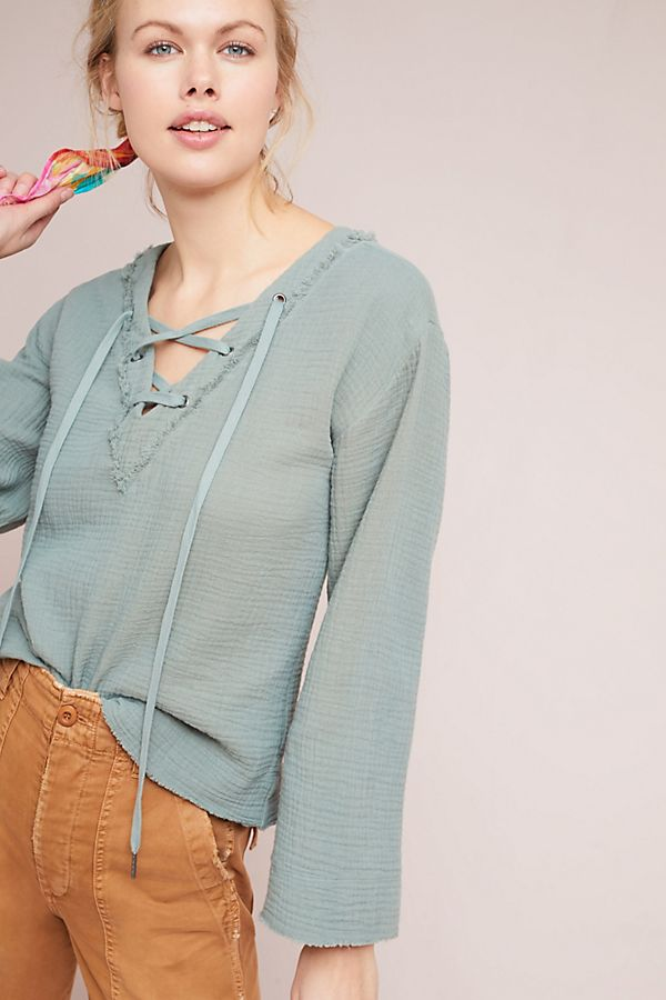 Cloth Stone Lace Up Top