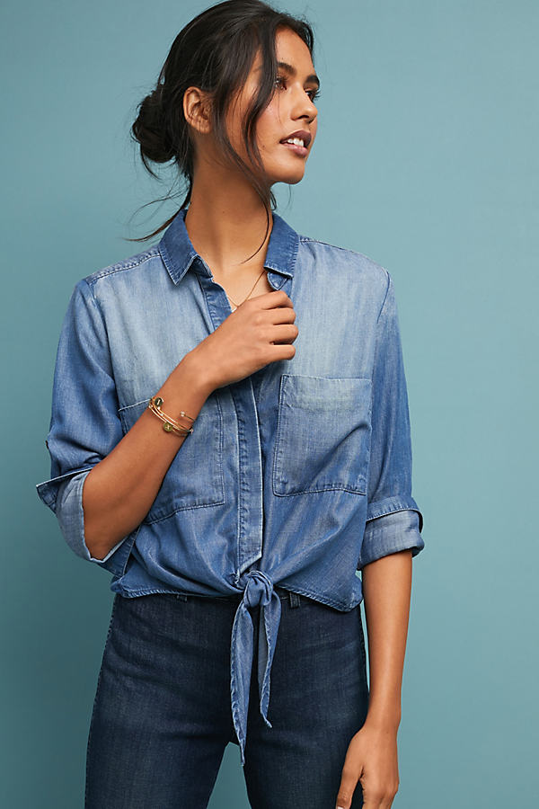 Cloth & Stone Tied Chambray Top - Blue, Size Xl