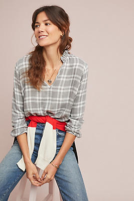 Slide View: 1: Cloth & Stone Plaid Blouse