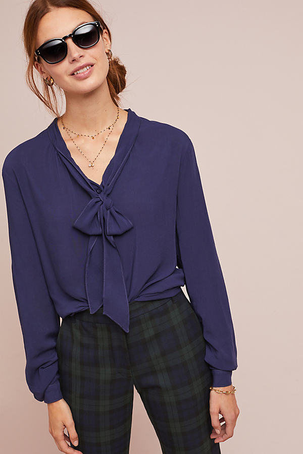 Cloth & Stone Neck-Tie Blouse - Blue, Size M