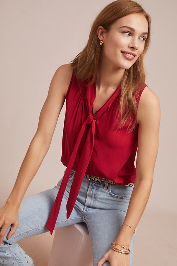 Cloth & Stone Sleeveless Blouse - Red, Size Xl