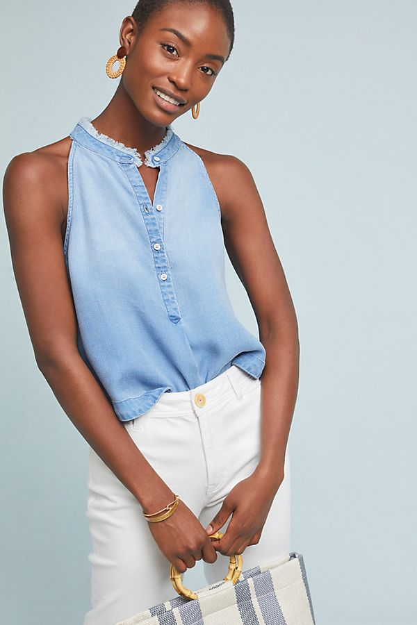 Slide View: 1: Cloth & Stone Sleeveless Chambray Top