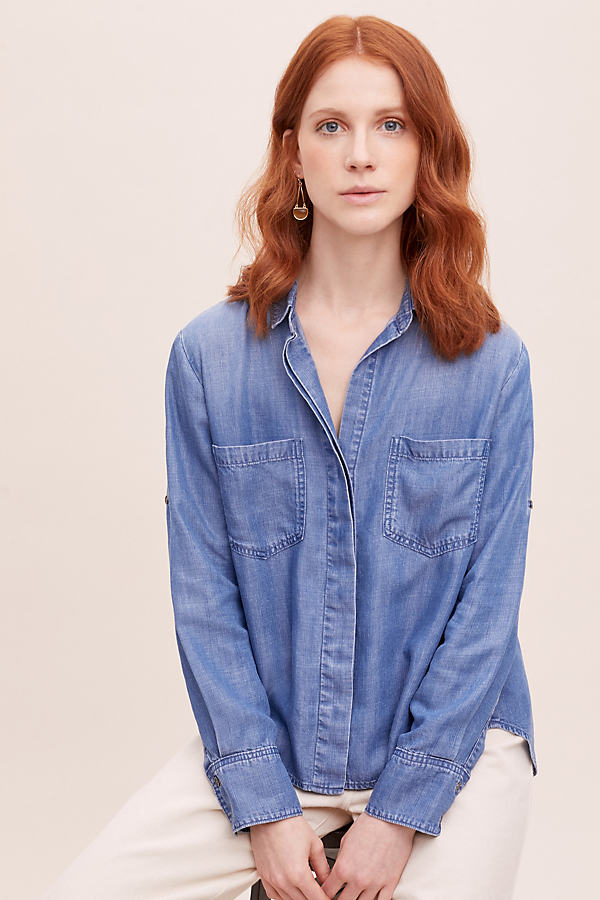 Cloth & Stone Riva Shirt - Blue, Size Xl