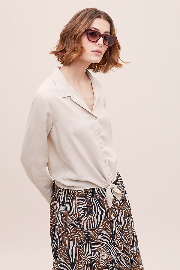Cloth & Stone Tie-Waist Shirt - White, Size L