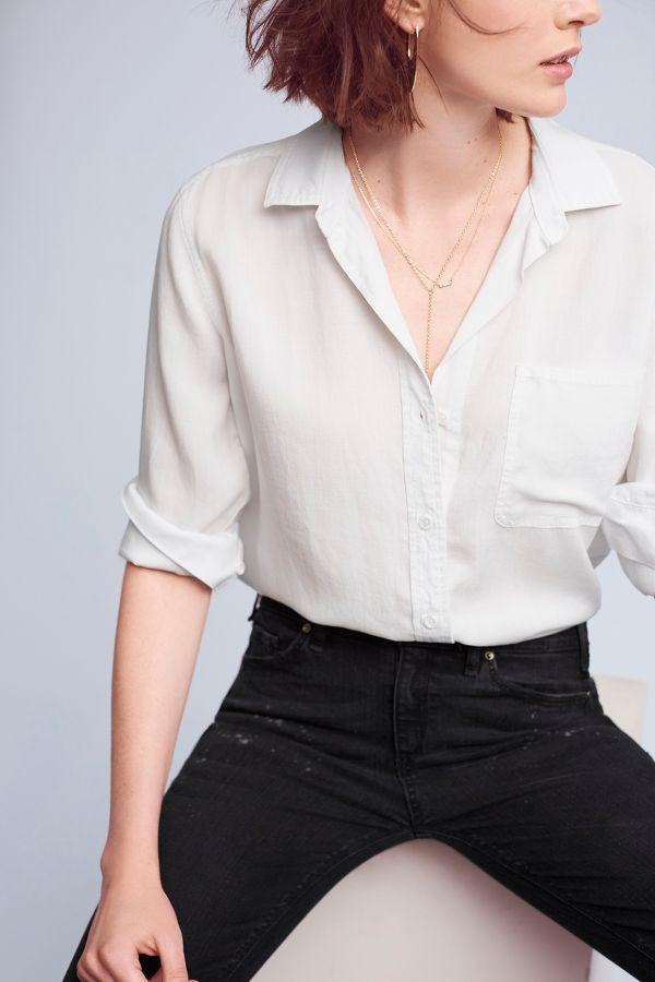 Cloth & Stone Frayed-Hem Buttondown