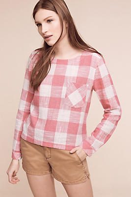 Slide View: 1: Gingham Button-Back Top