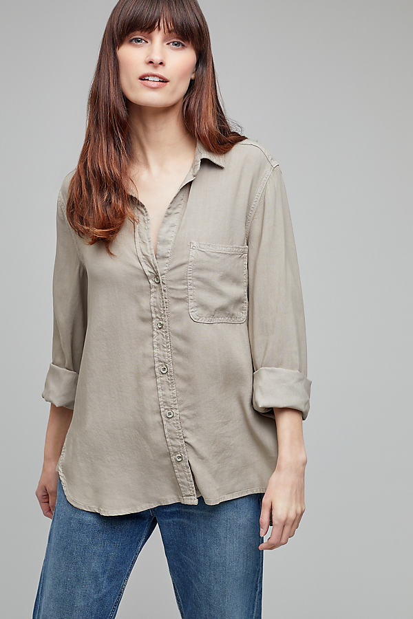 Aimee High-Low Shirt - Green, Size M
