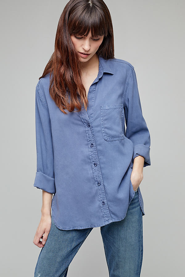 Aimee High-Low Shirt - Indigo, Size Xl