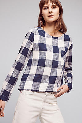 Gingham Button-Back Top