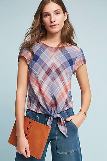 Plaid Tie-Front Blouse