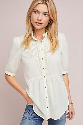 Slide View: 1: Beatrice Lace-Trimmed Blouse