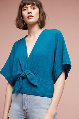 Slide View: 1: Raeka Tie-Waist Kimono Blouse