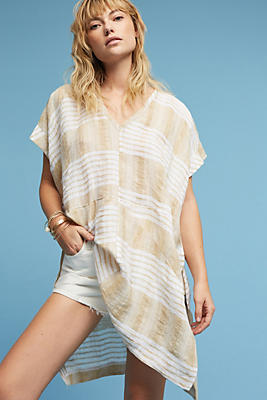 Slide View: 1: Dolman Striped Linen Tunic