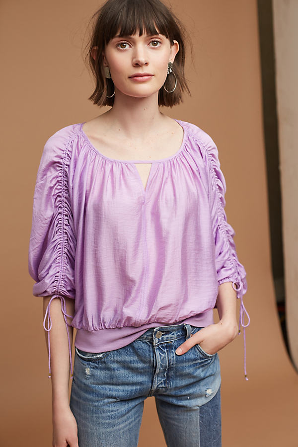 Calluna Tied Blouse, Purple - Lavender, Size L