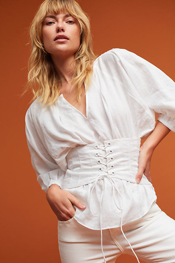Corset Balloon Sleeve Blouse - White, Size 16