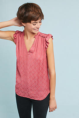 Slide View: 1: Ruffled V-Neck Tank Top